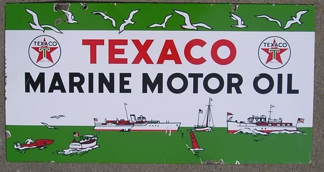 Texaco Marine 11x22 porcelain 2 sides