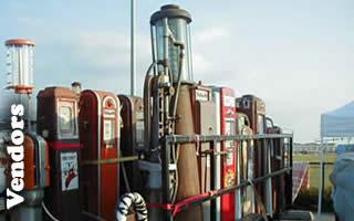 Vintage gas pumps on trailer